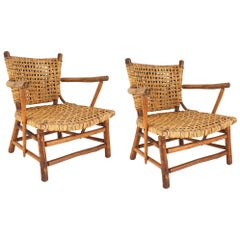 Pair of Rustic Old Hickory Low Arm Chairs