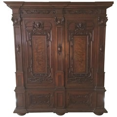 English Walnut Armoire or Cabinet on Bun Feet, Late 19th Century