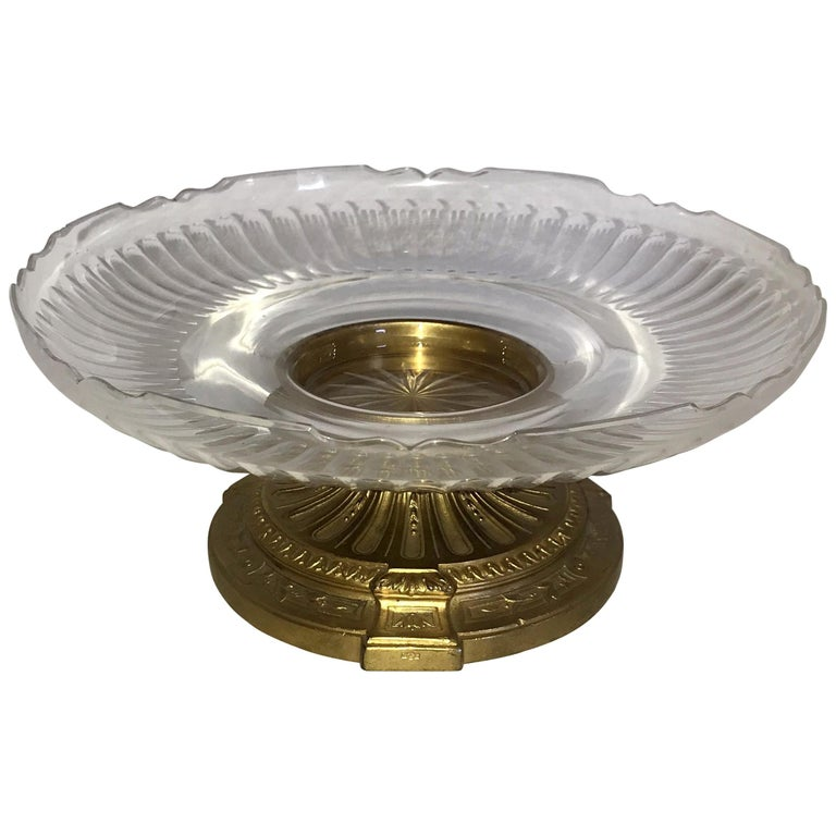 Wonderful French Neoclassical Bronze Crystal Round Centrepiece Cake Ormolu Stand For Sale