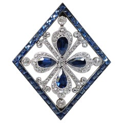Platinum Natural Sapphire and Diamond Brooch, circa 1870
