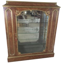French Louis XV Style Vitrine Cabinet with Mirrored Interior, Late 19th Century
