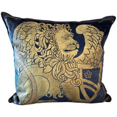 Sumptuous Venetian Bevilacqua Pillow in Midnight Blue and Gold