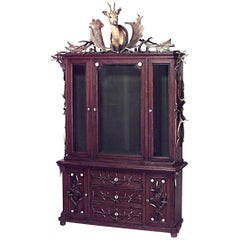 Continental 'German' Horn and Oak Bookcase Cabinet