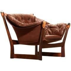 1950s Teak and Leather 'Trega' Lounge Chair by Tormod Alnaes for Sørliemøbler