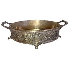 Beautiful Christofle France Silver Plated Bronze Jardinière Filigree Centrepiece