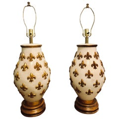 Pair of White and Gilt Porcelain Bulbous Shaped Table Lamps