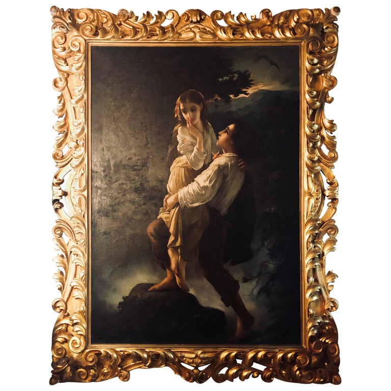 Monumental Oil on Canvas the Old Masters Style of a Maiden to Be Deflowered For Sale