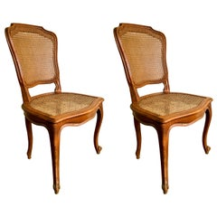 Pair of French Carved Walnut Chairs in Style of Louis XV