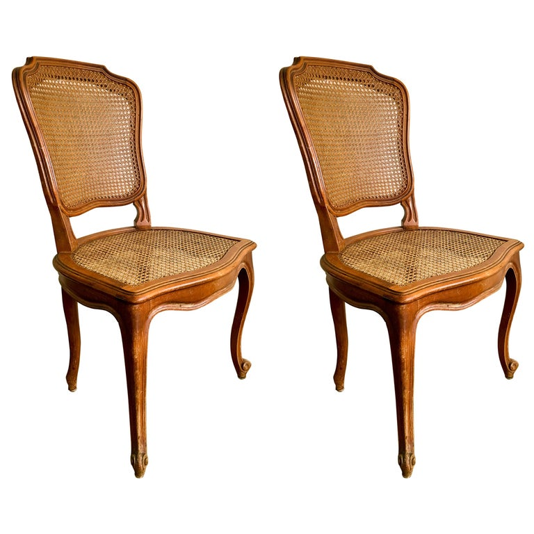 Pair of French Carved Walnut Chairs in Style of Louis XV For Sale