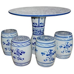 Chinese Hand-Painted Porcelain Garden Table and Stools