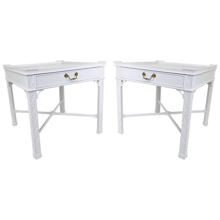Pair of Lacquered Chippendale Side Tables by Baker