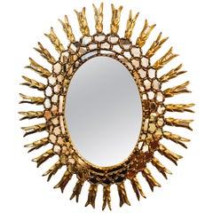 Decorative Hollywood Regency Gilt Leaf Sunburst Console or Wall Mirror