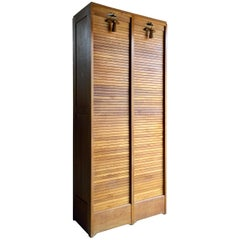 Magnificent Haberdashery Tambour Fronted Cabinet Two Section Vintage Cabinet