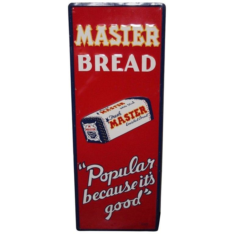 1940s Vintage Master Bread Tin Advertising Sign
