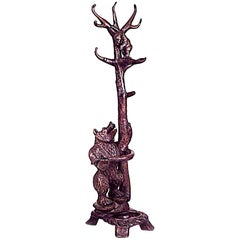 Rustic Black Forest Style '20th Century' Walnut Hatrack/Umbrella Stand