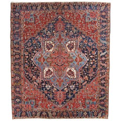 Antique Persian Heriz Carpet, Handmade Wool Oriental Rug, Rust, Navy, Lt Blue
