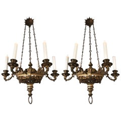 Rare Pair of Late 19th Century, Gilt and Gothic Revival Six Candle Chandeliers