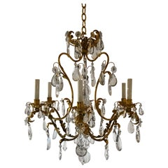 Antique French Gilded Tole and Crystal Chandelier, circa 1920-1930