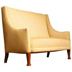 1950s Scandinavian High Back Sofa Couch