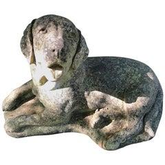 English Cast Stone Statue of a Recumbent Labrador Puppy
