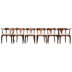 Restored and Unusual Midcentury Dining Chairs, Set of Six