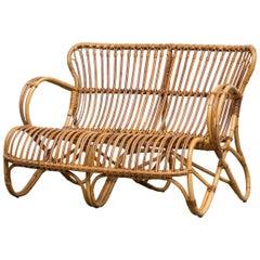 Midcentury Retro Bamboo Love Seat