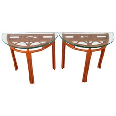 1940s Painted Rattan Demilune Glass Top Consoles in Hermes Orange