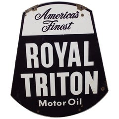1950s Royal Triton Motor Oil Double-Sided Porcelain Sign