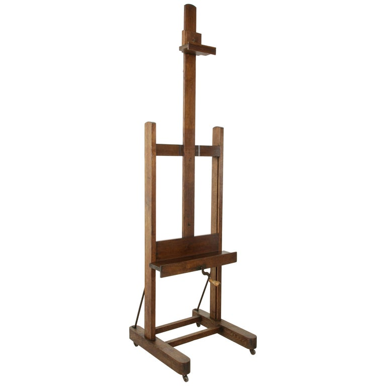 Large French Oak Adjule Artist S Floor Easel With Crank And Label