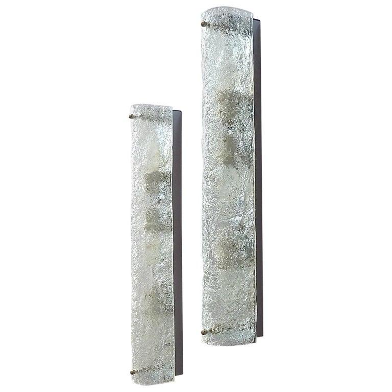 Large Pair of Chrome Murano Ice Glass Tube Wall Lights Sconces Hillebrand Kalmar