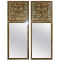 Pair of French Louis XVI Style Trumeau Mirrors