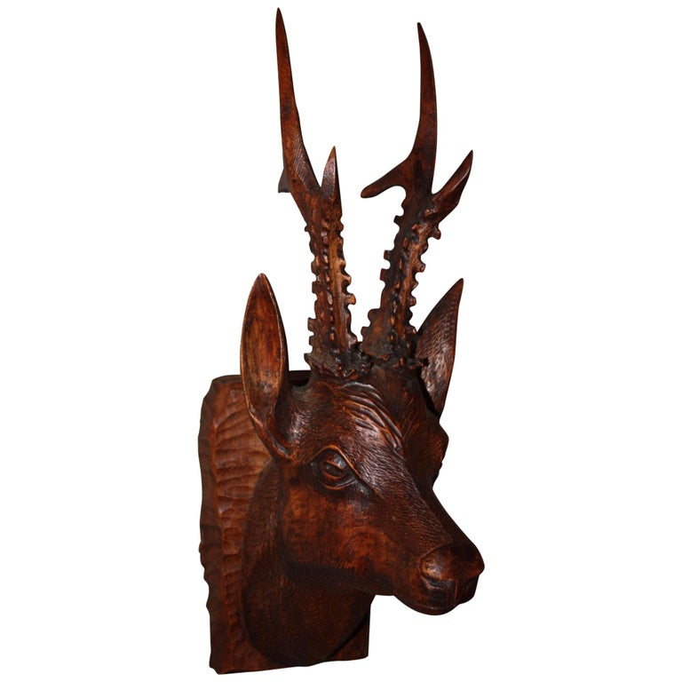Black Forest Carved Wood Deer Head