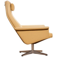 1960s, Light Yellow Fabric Swivel Lounge Chair by DUX Sweden