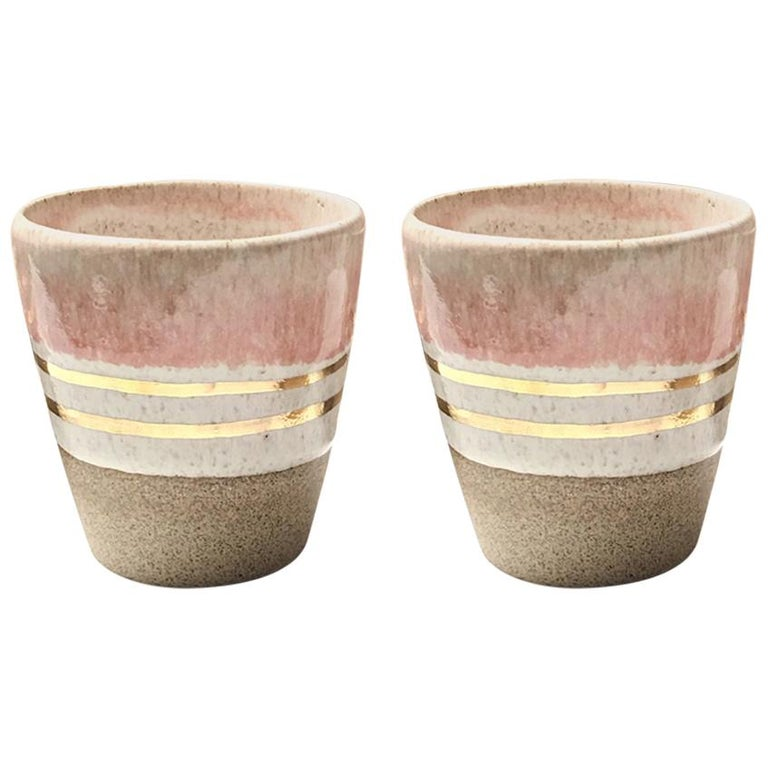 Rose Gold Ceramic Cortado Cups with 22-Karat Gold Luster by Kim Brown For Sale