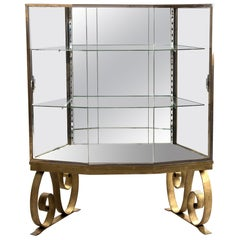 Glass and Mirrored Art Deco Panel Display Case on Gilt-painted Base