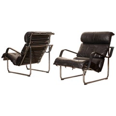 "Set of Two Black Leather Lounge Chairs by Yrjö Kukkapuro ""Remmie"" from Finland"