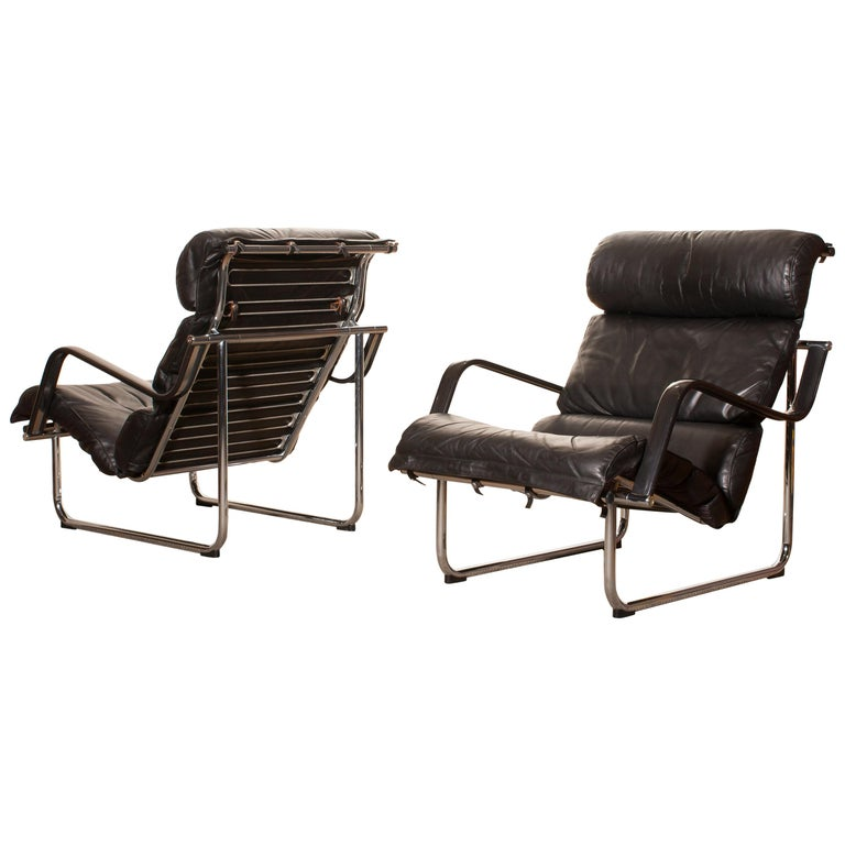 """Set of Two Black Leather Lounge Chairs by Yrjö Kukkapuro """"Remmie"""" from Finland"""