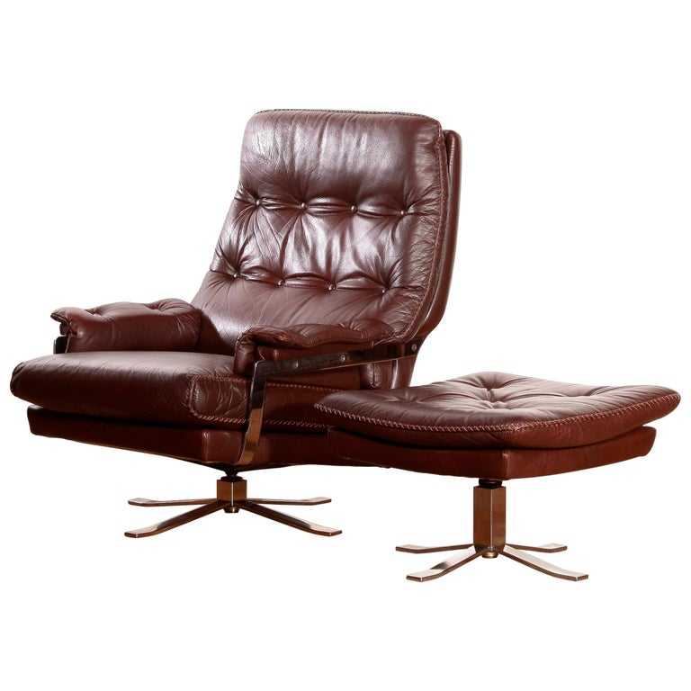 Chrome Arne Norell, Lounge Swivel Chair and Ottoman, Hand-Stitched, Leather For Sale