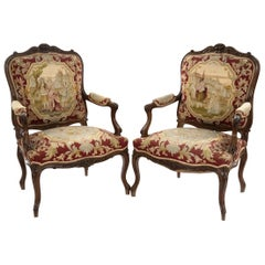 Pair of Louis XVI Style Carved Walnut Tapestry Armchairs