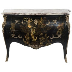 French Louis XV Chinoiserie Commode with Marble Top