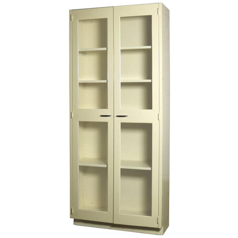 Industrial Metal Display Cabinet Or Bookcase With Glass Doors For