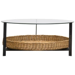 Modernist Two Tiered Round Coffee Table with Rattan Basket