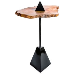 Brazilian Irregular Hardwood and Metal Side Table, Triangle