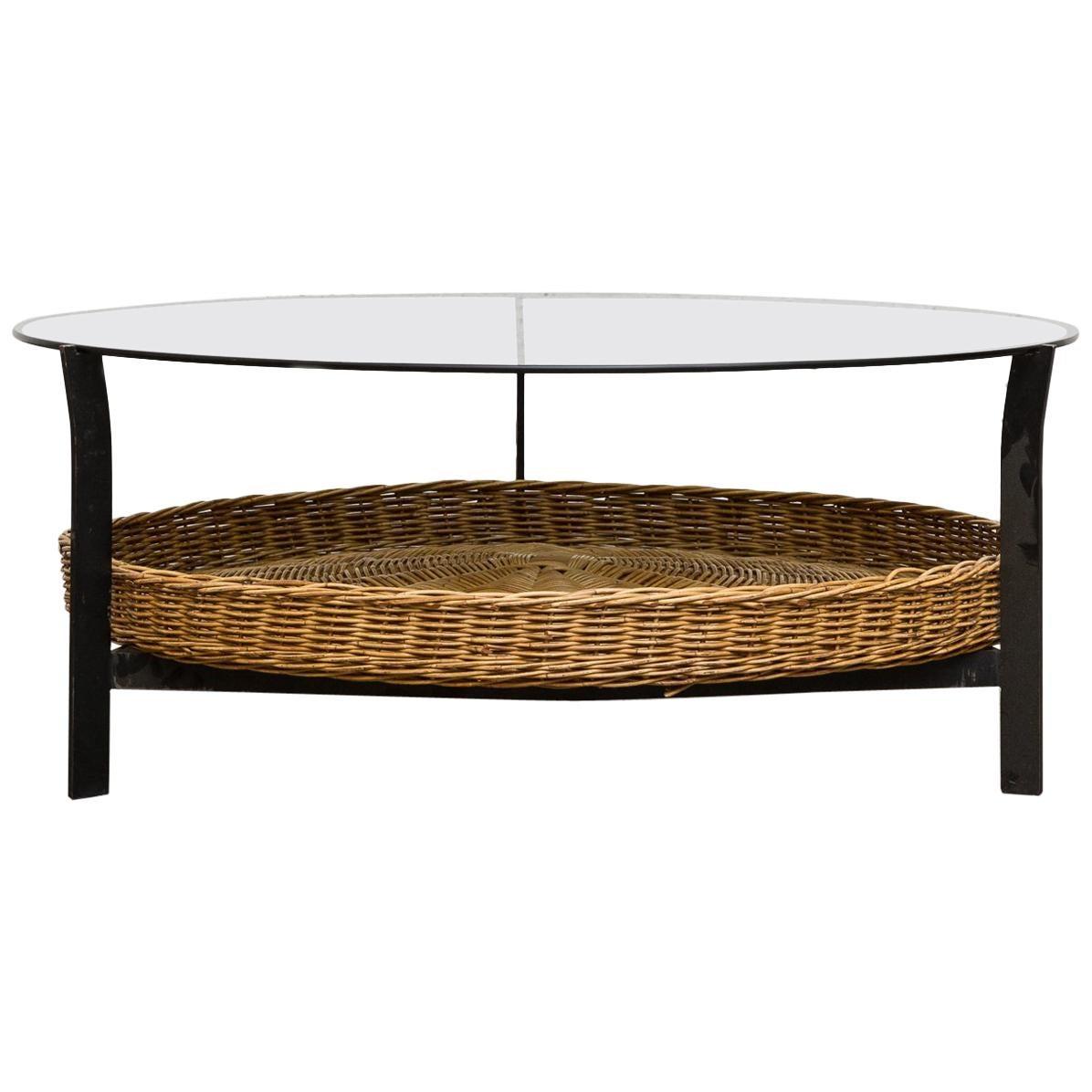 Rattan And Glass Circular Coffee Table