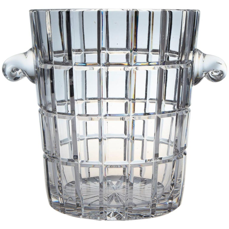 French Cut Crystal Wine Cooler or Champagne Ice Bucket with Handles, circa 1960s