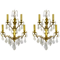 French Double Tier Crystal Candelabra Sconces, Pair