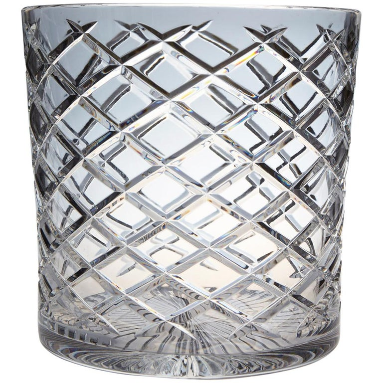 French Cut Crystal Wine Cooler or Champagne Ice Bucket for Two Bottles For Sale