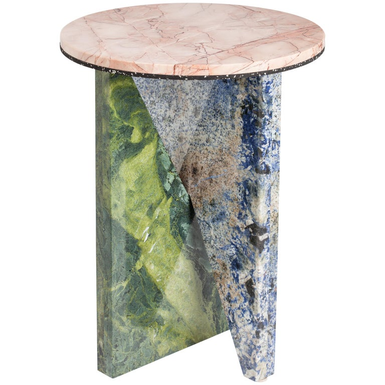 Affordances Large Side Table in Pink Marble by Jonathan Zawada For Sale