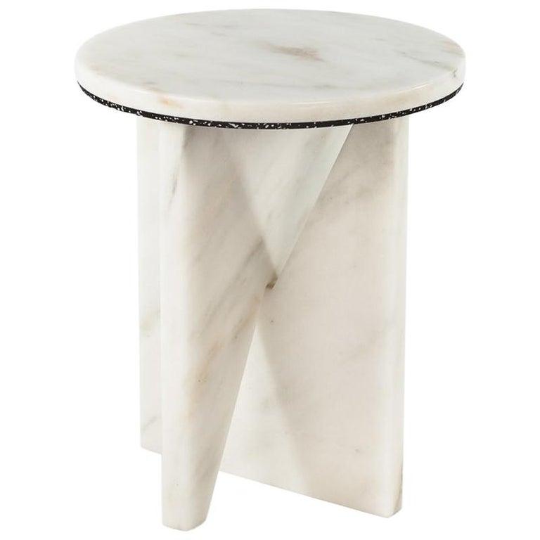 Affordances Side Table with Carrara Top and Carrara Legs by Jonathan Zawada