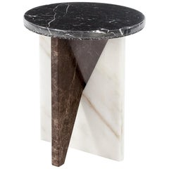 Affordances Side Table with Nero Top and Carrara/Emperador Legs, Jonathan Zawada